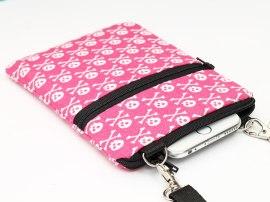 Pink skulls smartphone sling bag